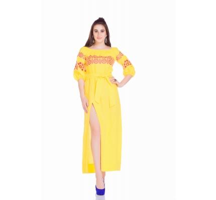 Платье-вышиванка в пол желтого цвета