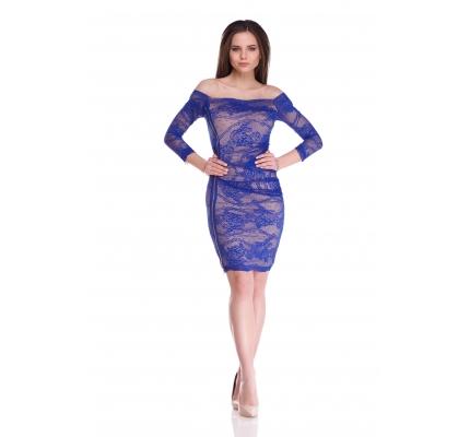 Сукня футляр бежева з синім мереживом