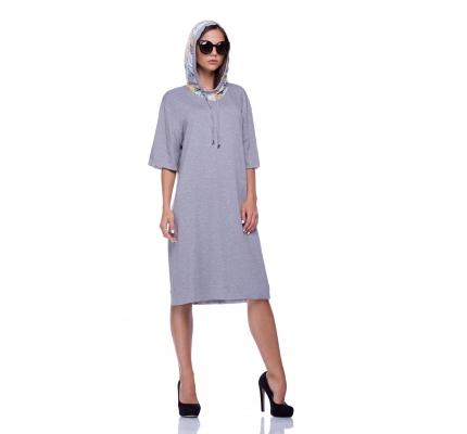 Сукня трикотажна з кольоровим капюшоном