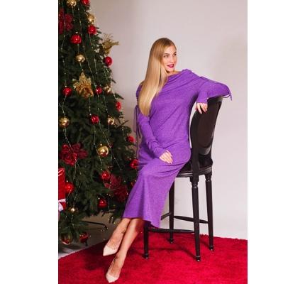 Платье фиолетовое  на шнурке