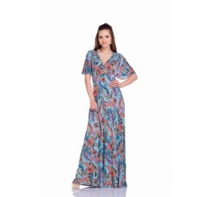 Платье голубое с орнаментом