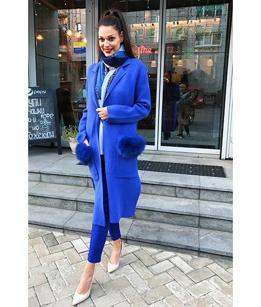 Cardigan fur on the pockets blue