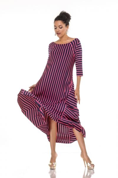 Long dress-angles with raspberry strip - Фото