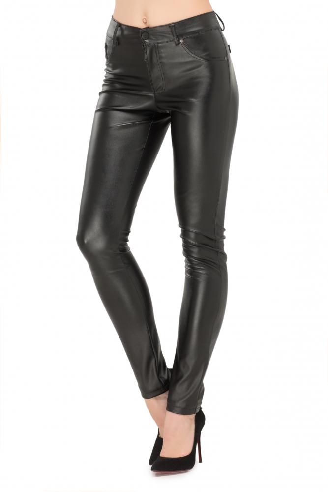 Штани з еко-шкіри чорного кольору з імітацією кишені 1f15c5a107380