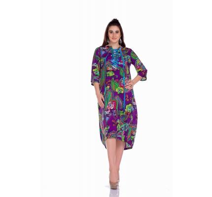 Платье фиолетовое с принтом на шнуровке