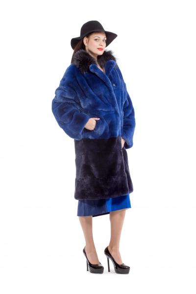 Fur coat dark blue color - Фото