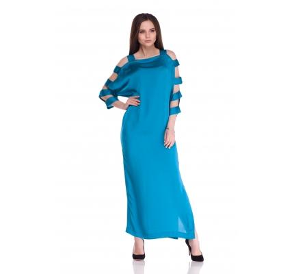 Платье изумрудного цвета с разрезами на рукавах