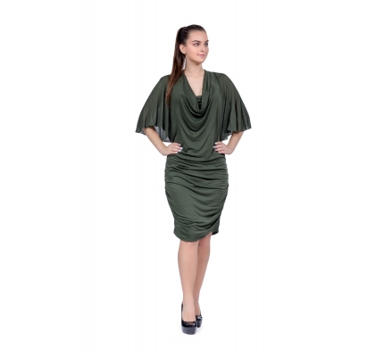 Green drapery dress