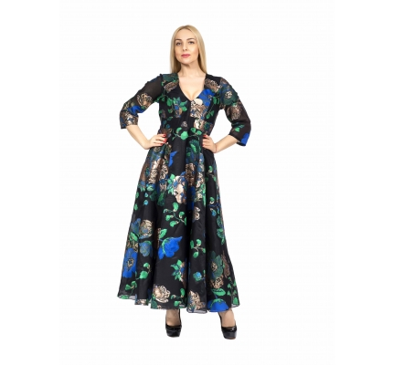Платье черное органза с синими розами