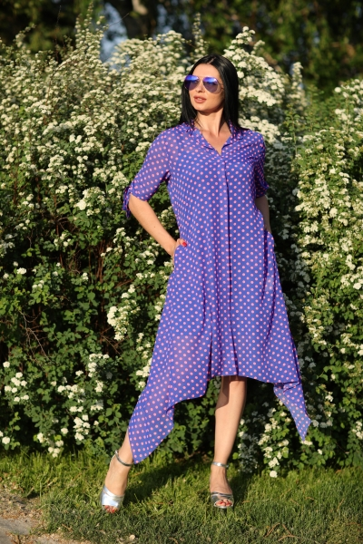 Сукня синя в горошок - Фото