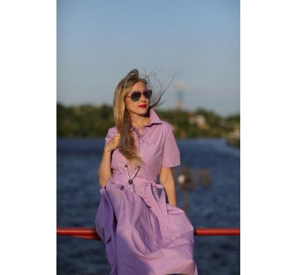 Платье трикотажное лилового цвета