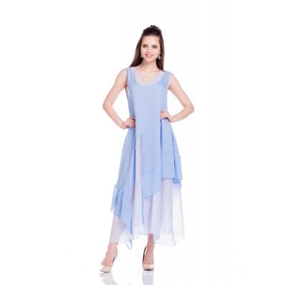 Платье двухслойное свободного кроя голубого цвета