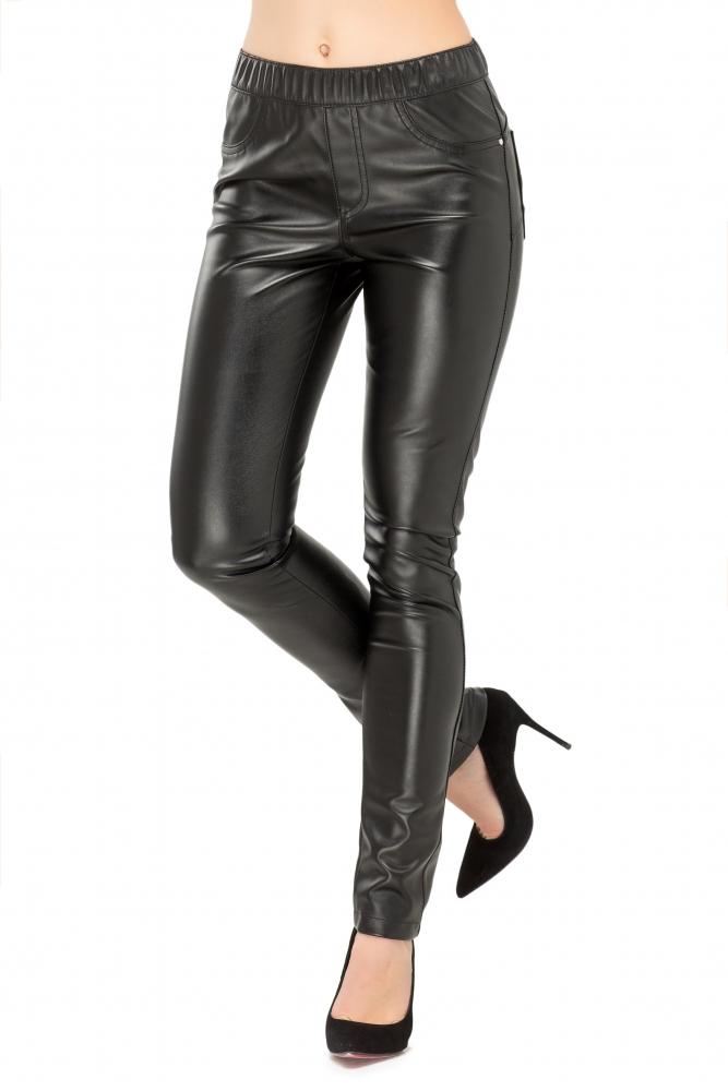 Штани з еко-шкіри чорного кольору на резинці 02ca74f522bf4