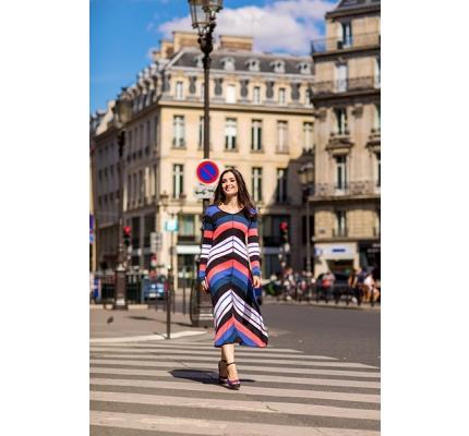 Платье трикотажное диагональная полоса