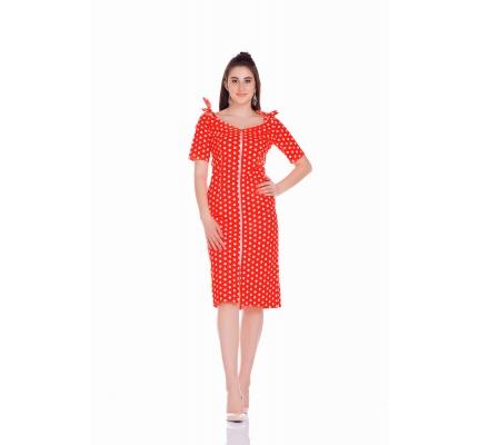 Платье футляр на молнии красного цвета в горох