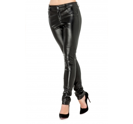 Pants made of eco-leather in black