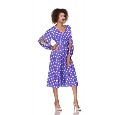 Платье фиолетовое в горох
