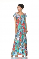Maxi dress with blue ornament  - Фото