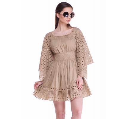 Платье с прошвой нюдового цвета