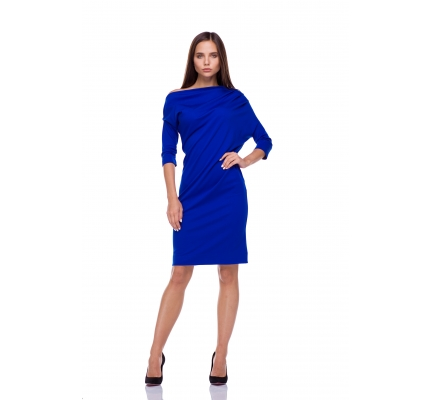 Dress asymmetrical blue color