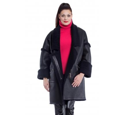Sheepskin coat black color