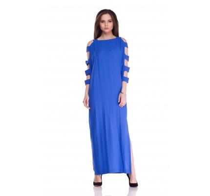 Платье синего цвета с разрезами на рукавах