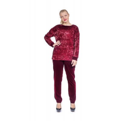 Costume red color with Paillettes