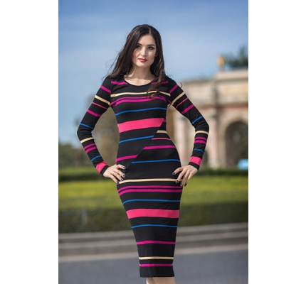 The dress is knitted black-yellow-pink