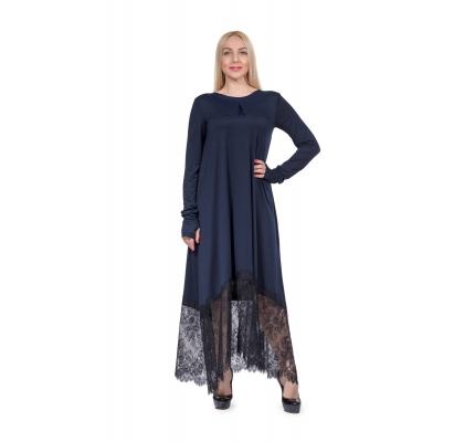 Платье темно-синее макси с кружевом