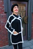 Кардиган черный с белой отделкой - Фото