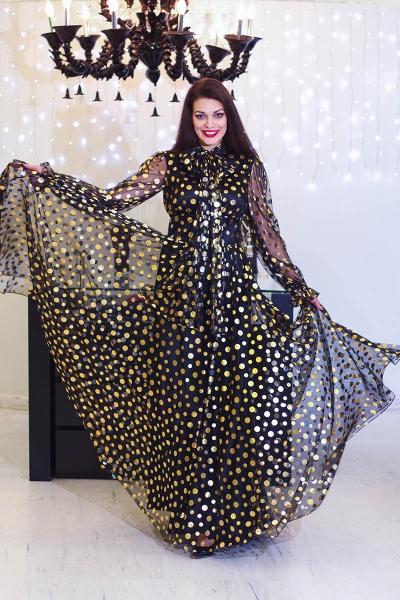 Платье в золотой горох - Фото