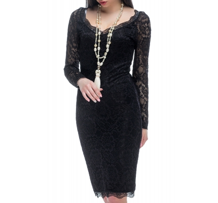 Dress with black lace