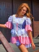Сукня з воланами триколірна - Фото