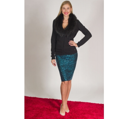 Pencil skirt blue sequin
