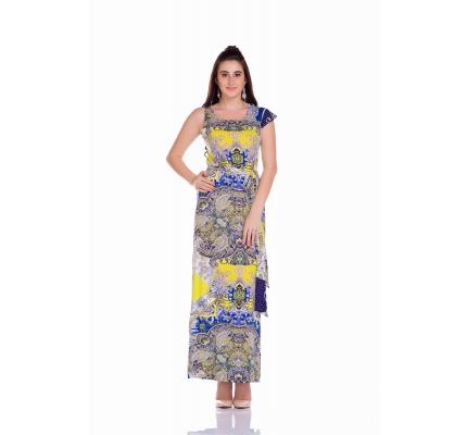 Платье с принтом под пояс