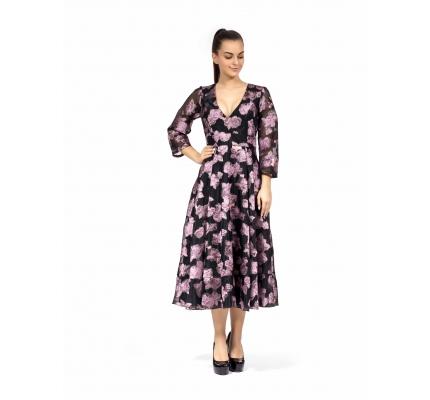 Платье черное органза с розами