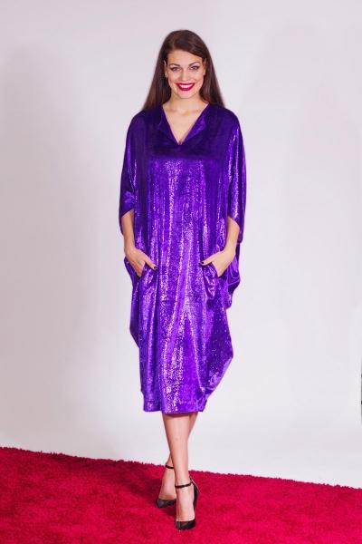Платье велюровое фиолетовое буль - Фото