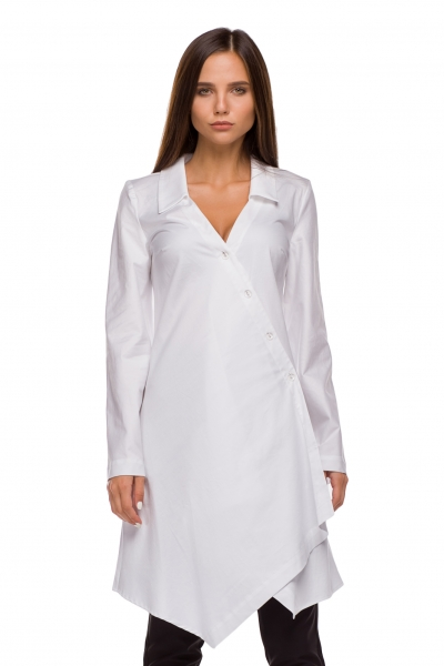 Long shirt white color - Фото