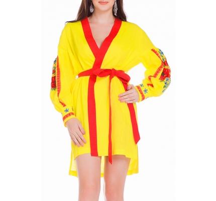Платье-вышиванка желтого цвета