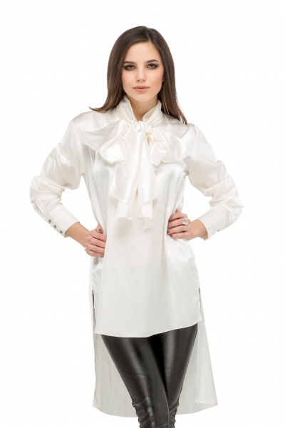 Milk blouse with a bow  - Фото
