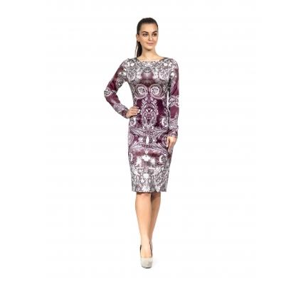 Платье-футляр бордовый орнамент