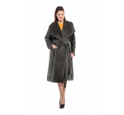 Пальто смарагдове з поясом