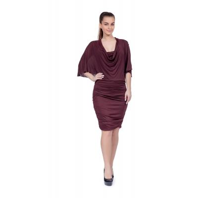Сукня драпіровка бордового кольору