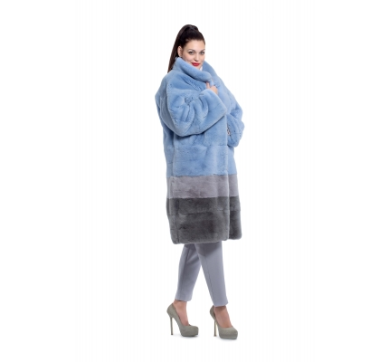 Fur coat blue color