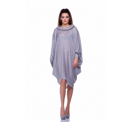 Платье серое объемное