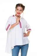 Shirt white color with red and blue stripes - Фото