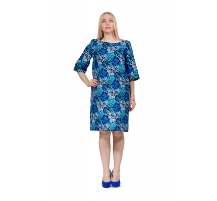 Платье жаккардовое сине-голубое