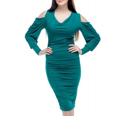 Сукня з відкритими плечима смарагдового кольору