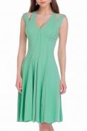 Платье мятного цвета с наружными швами - Фото