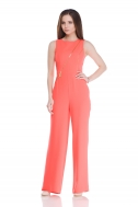 Overalls with coral-colored zippers - Фото